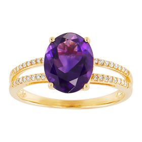 Amethyst Oval-Cut Ring with 1/10 ct Diamonds