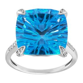 Blue Topaz Cushion-Cut Ring with Cubic Zirconias
