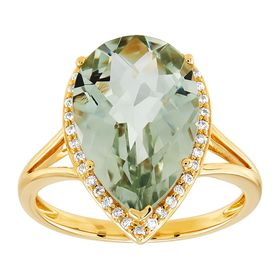 Pear-Cut Green Amethyst & 1/6 ct Diamond Ring