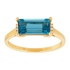 Baguette-Cut London Blue Topaz Ring with Diamonds