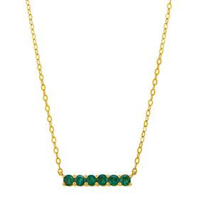 Emerald Six Stone Bar Pendant