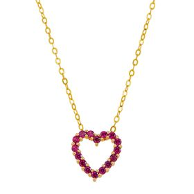 Ruby Open Heart Pendant
