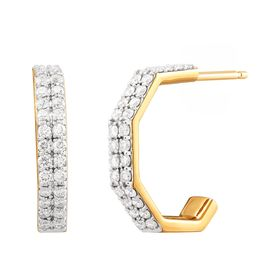 1/2 ct Diamond C-Hoop Earrings