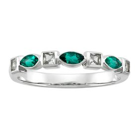 Emerald & White Sapphire Band Ring