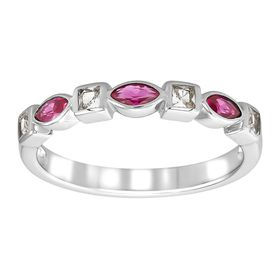 Ruby & White Sapphire Band Ring