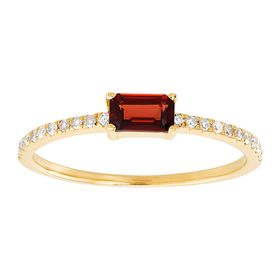 Emerald-Cut Garnet Ring with 1/10 ct Diamonds