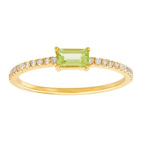 Emerald-Cut Peridot Ring with 1/10 ct Diamonds