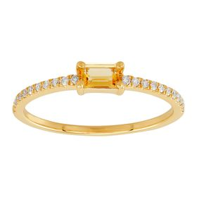 Emerald-Cut Citrine Ring with 1/10 ct Diamonds