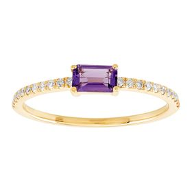 Emerald-Cut Amethyst Ring with 1/10 ct Diamonds