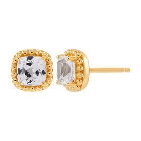 White Sapphire Cushion-Cut Stud Earrings