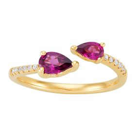 Rhodolite Garnet Bypass Ring with Diamonds