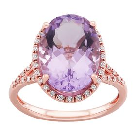 Pink Amethyst Oval-Cut Halo Ring with Cubic Zirconias