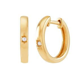 17 mm Hoop Earrings with Diamonds