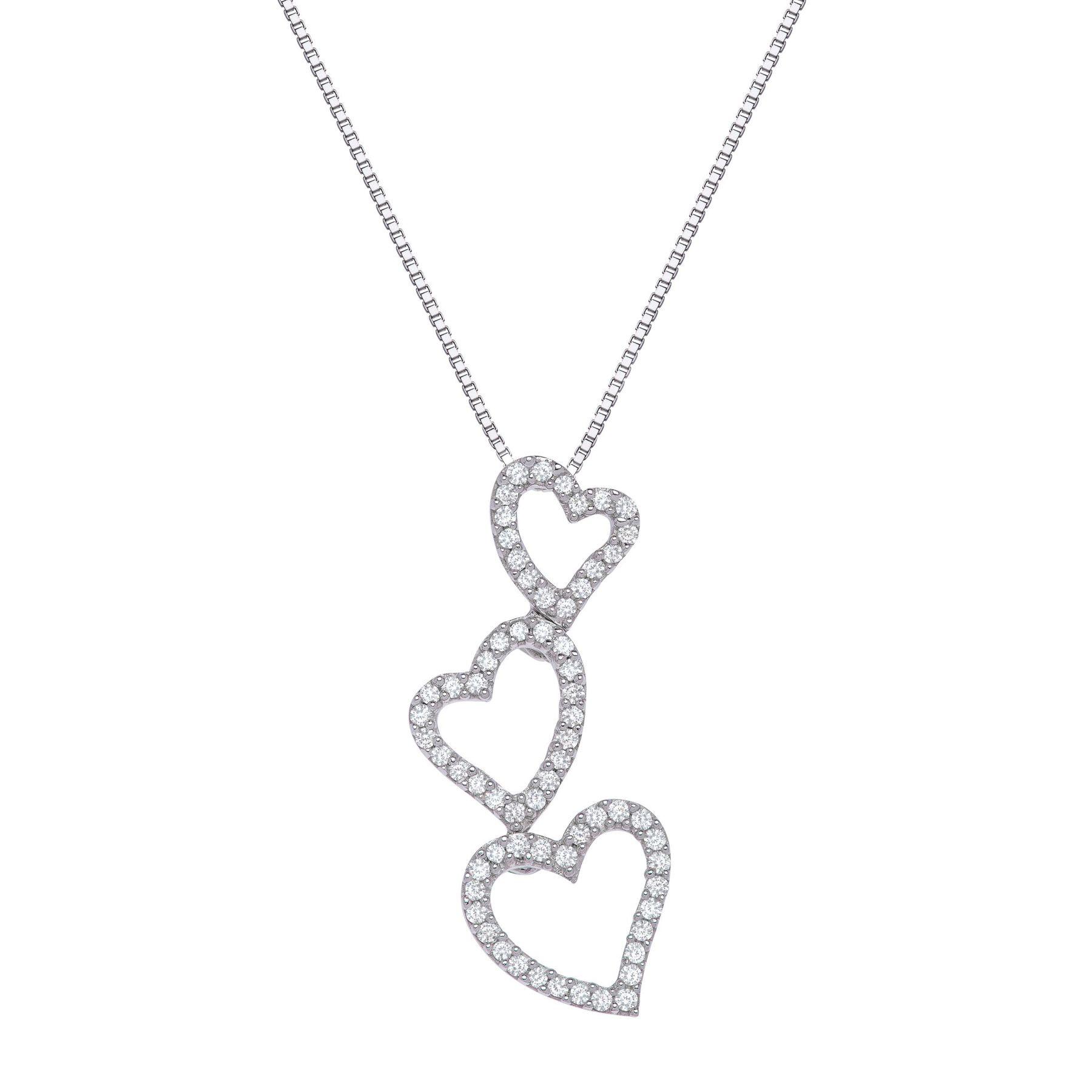 15 ct diamond triple heart pendant in 14k white gold 15ct 15ct diamond triple heart pendant aloadofball Images