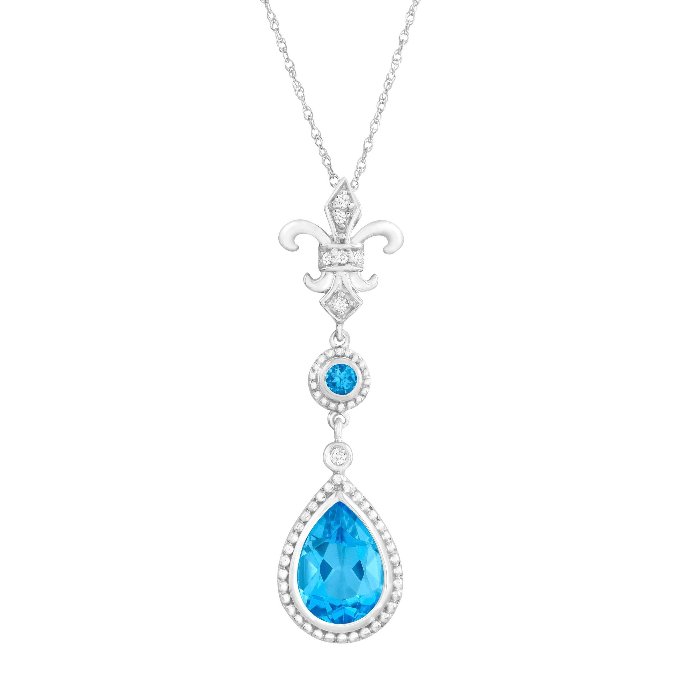 2 1/3 ct Natural Swiss Blue Topaz Fleur-De-Lis Pendant Necklace with Diamonds in 14K White Gold Invest in a classic with this regal fleur-de-lis pendant. Pear and round-cut natural Swiss blue topaz totaling 2 1/3 ct are offset with shimmering diamond accents in a setting of 14K white gold. Piece measures 1 1/2 by 3/8 inches. Comes with a 14K white gold 18-inch rope chain.