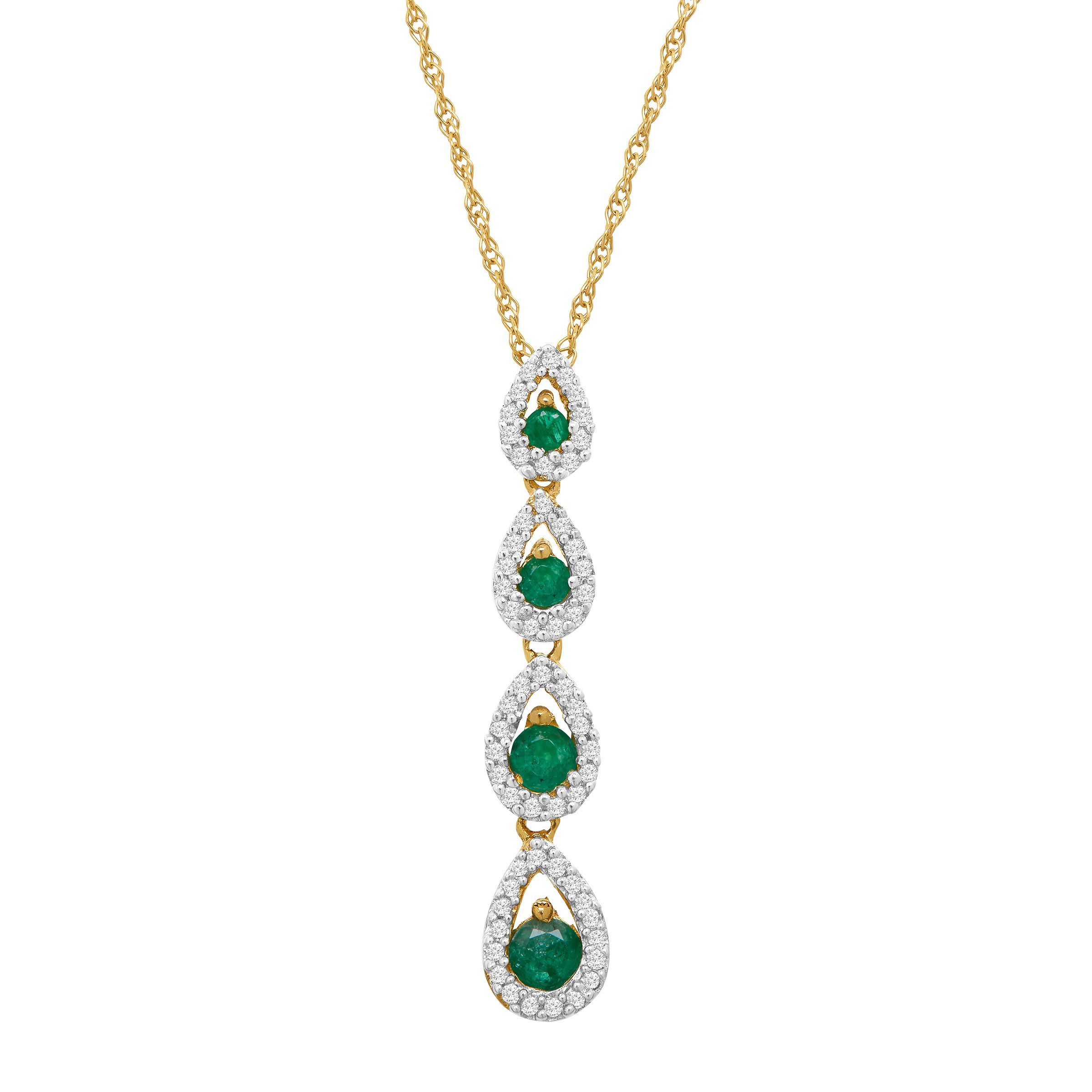 in gold white emerald with set carats dia pendant natural diamonds