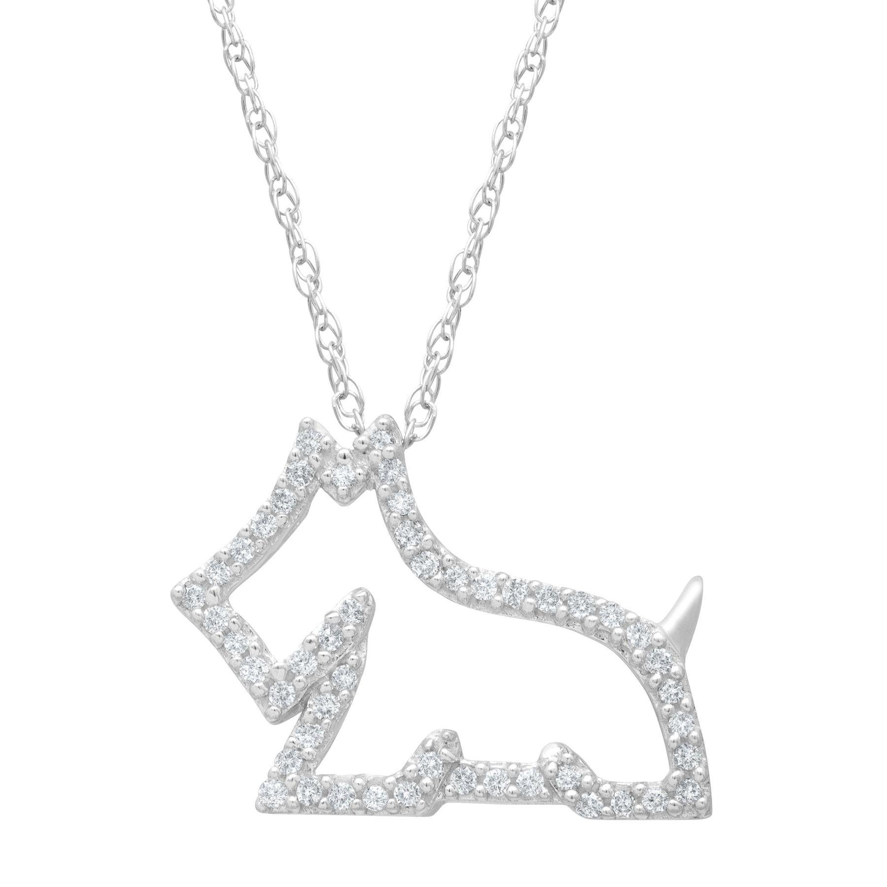 18 ct diamond scottie dog pendant in 14k white gold 18 ct 18 ct diamond scottie dog pendant aloadofball Image collections