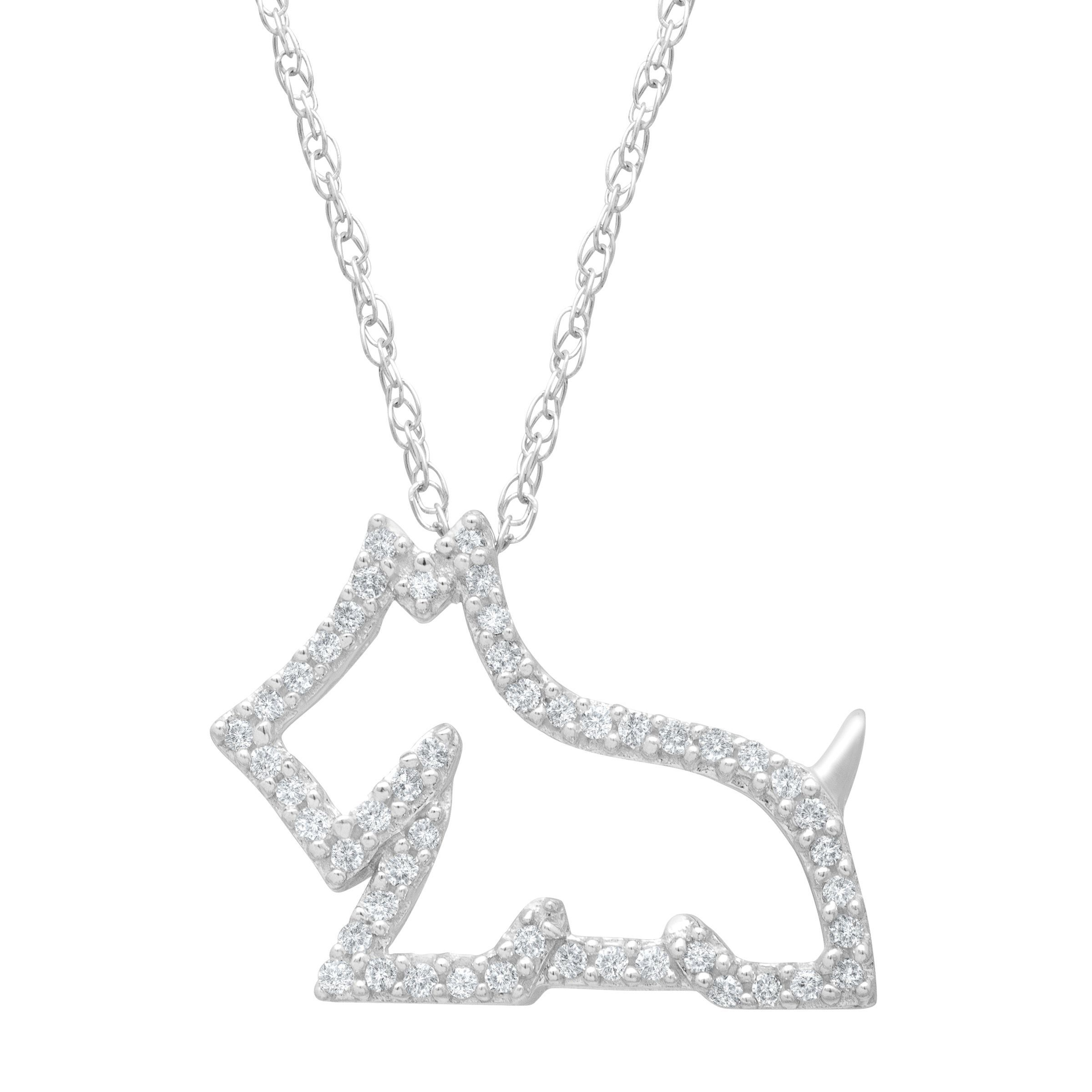 1 8 ct Diamond Scottie Dog Pendant in 14K White Gold