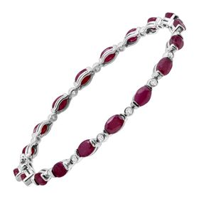 10 ct Ruby & White Topaz Link Bracelet
