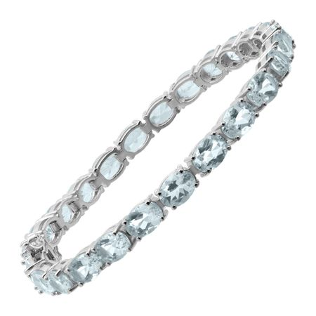 23 ct Aquamarine Tennis Bracelet, 7.5