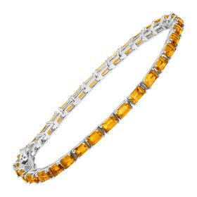 6 1/4 ct Citrine Emerald-Cut Tennis Bracelet, 7""