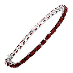 9 1/4 ct Garnet Emerald-Cut Tennis Bracelet, 7""
