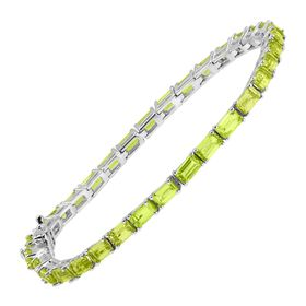 7 7/8 ct Peridot Emerald-Cut Tennis Bracelet, 7""