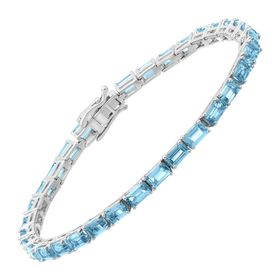 8 ct Swiss Blue Topaz Emerald-Cut Tennis Bracelet