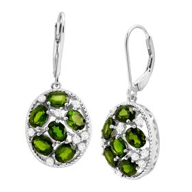 4 1/2 ct Chrome Diopside & Cubic Zirconia Drop Earrings