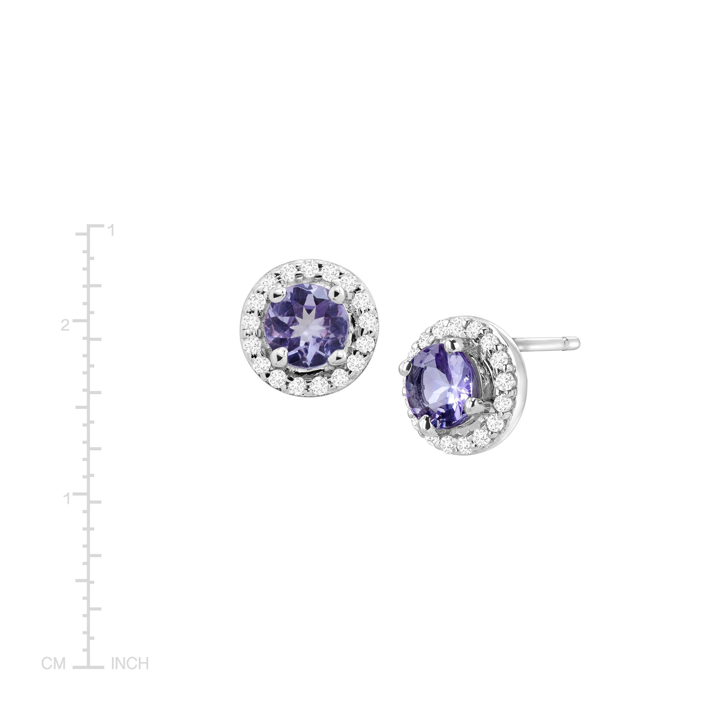 white in gold with tanzanite tw earrings diamonds