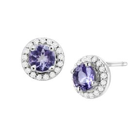 1 1/4 ct Tanzanite & White Topaz Halo Stud Earrings