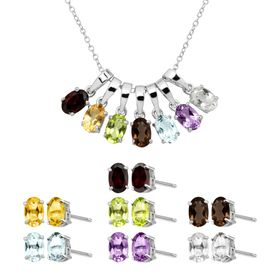 Natural Multi-Stone Pendant & Earring Box Set of 7