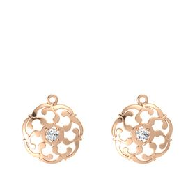 14K Rose Gold Earring with White Sapphire