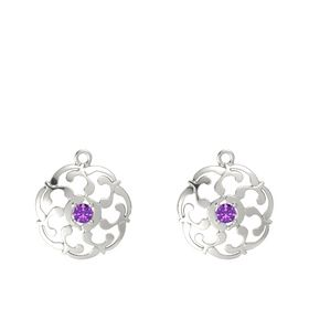 14K White Gold Earrings with Amethyst