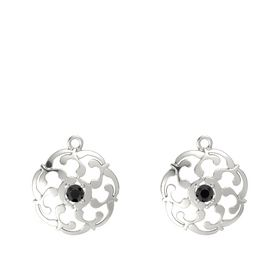 14K White Gold Earrings with Black Diamond