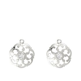 14K White Gold Earring with Rock Crystal