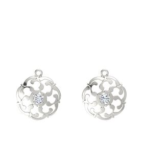 14K White Gold Earrings with Diamond