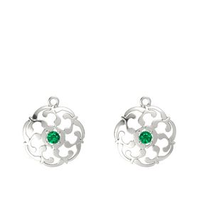 14K White Gold Earrings with Emerald