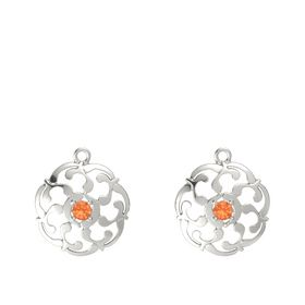 14K White Gold Earrings with Fire Opal