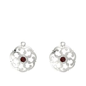 14K White Gold Earring with Red Garnet