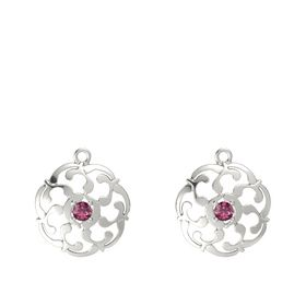 14K White Gold Earring with Rhodolite Garnet