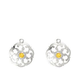 14K White Gold Earrings with Citrine