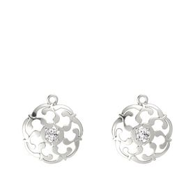 14K White Gold Earrings with White Sapphire