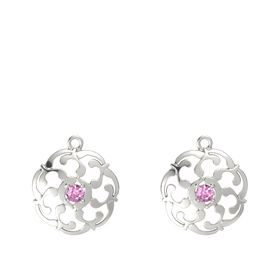 14K White Gold Earrings with Pink Sapphire