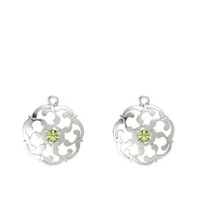 14K White Gold Earring with Peridot
