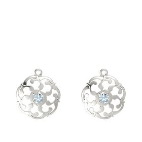 14K White Gold Earrings with Aquamarine