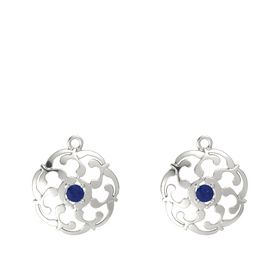 14K White Gold Earrings with Sapphire