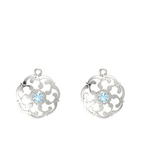 14K White Gold Earring with Blue Topaz