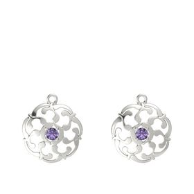 14K White Gold Earrings with Iolite