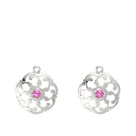 14K White Gold Earring with Pink Tourmaline